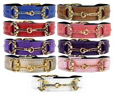 Horse & Hound Swarovski Crystal Italian Leather Collar- 9 Colors