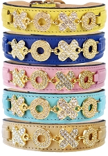 Hugs & Kisses Swarovski Italian Leather Collar- 5 Colors