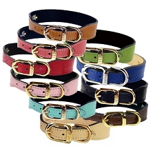 Italian Leather Luxury Dog Collar- 22 Colors