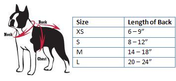 NFL Dog Sweater Size Chart