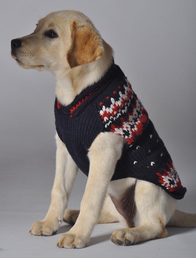 Chilly Dog Navy Alpine Fairisle Wool Dog Sweater