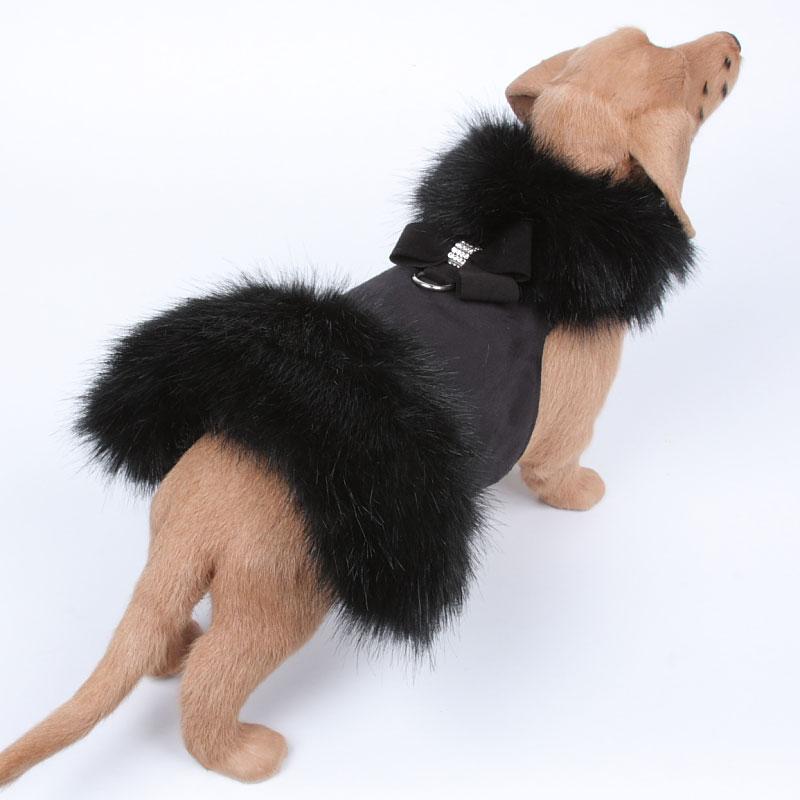 Nouveau Bow Black Fur Dog Coat In Black By Susan Lanci
