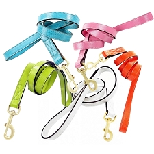 Park Avenue Lizard Embossed Leather Leashes- 7 Colors