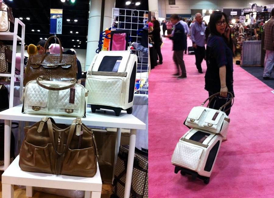 ebf41a0b16 PETOTE Rio Rolling Multifunctional Dog Traveler in Ivory Quilted Luxe