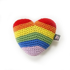 Rainbow Heart Cotton Knit Dental Dog Toy