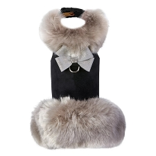 Soft Silver Fox Coat with Platinum Glitzerati Nouveau Bow