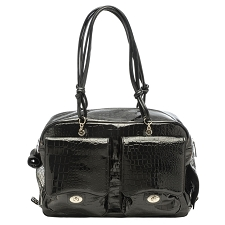 Alex Dog Carrier Bag by Kwigy Bo - Black Patent Croc