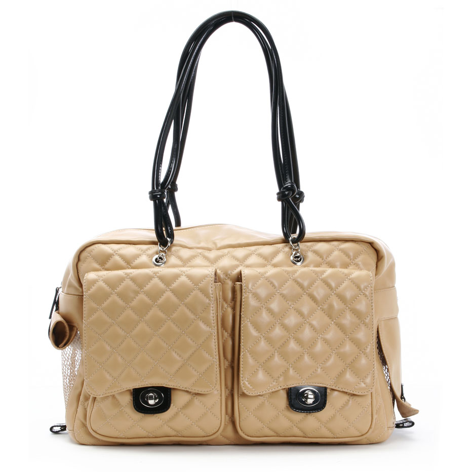 Alex dog bag by kwigy bo camel quilted cambon and black - Dog purse carriers designer ...