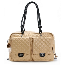 Alex Cambon Quilted Dog Carrier by Kwigy Bo - Camel and Black