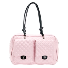 Alex Cambon Quilted Dog Carrier by Kwigy Bo - Pink and Black