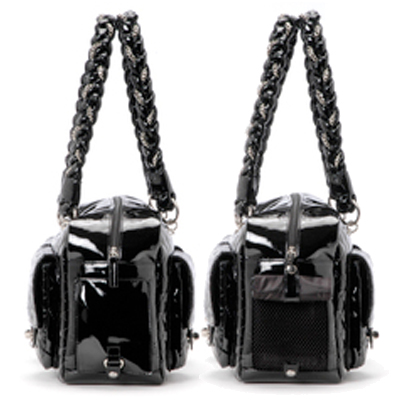 Alex Luxe Dog Carrier Bag By Kwigy Bo Black Patent