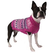 Pink Sweetheart Handknit Alpaca Dog Sweater