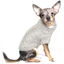 Handknit Angora Blend Dog Sweater - Sand