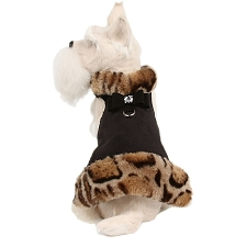 Angora Leopard Fluff Muff Dog Jacket- Black