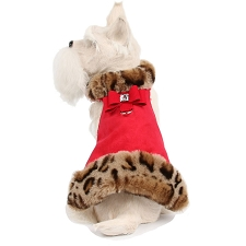 Angora Leopard Fluff Muff Dog Jacket- Red
