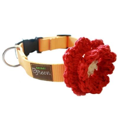 Mimi Green Apple Juice Crochet Flower Dog Collar Designer Dog