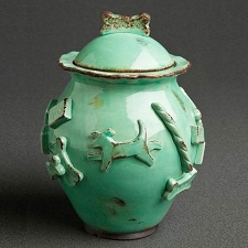 Aqua Dog Treat Jar by Carmel Ceramica