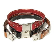 Seville Buckle Leather Big Dog Collars - Classic Colors