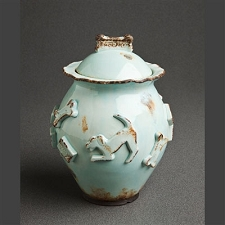 Baby Blue Dog Treat Jar by Carmel Ceramica
