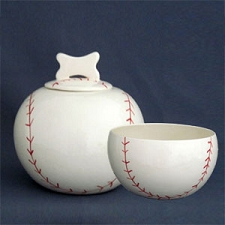 Baseball Dog Bowls and Treat Jars