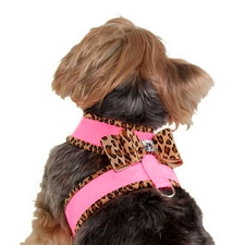 Big Bow Crystal Two-Tone Dog Harness - Perfect Pink and Cheetah