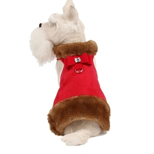 Big Bow Crystal Mink Fur Dog Coat- Red