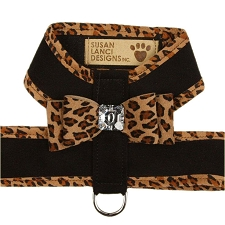 Big Bow Crystal Two-Tone Dog Harness - Black and Cheetah