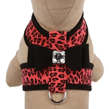 Big Bow Crystal Two-Tone Dog Harness- Mango Cheetah and Black