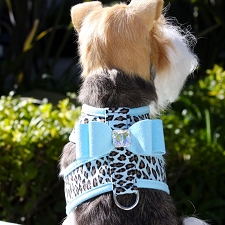 Big Bow Crystal Two-Tone Dog Harness- Tiffy Cheetah and Tiffy Blue
