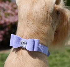 Big Bow Swarovski Crystal Ultrasuede Dog Collar - 20 Colors