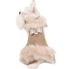 Big Bow Foxy Fur Dog Coat- Camel