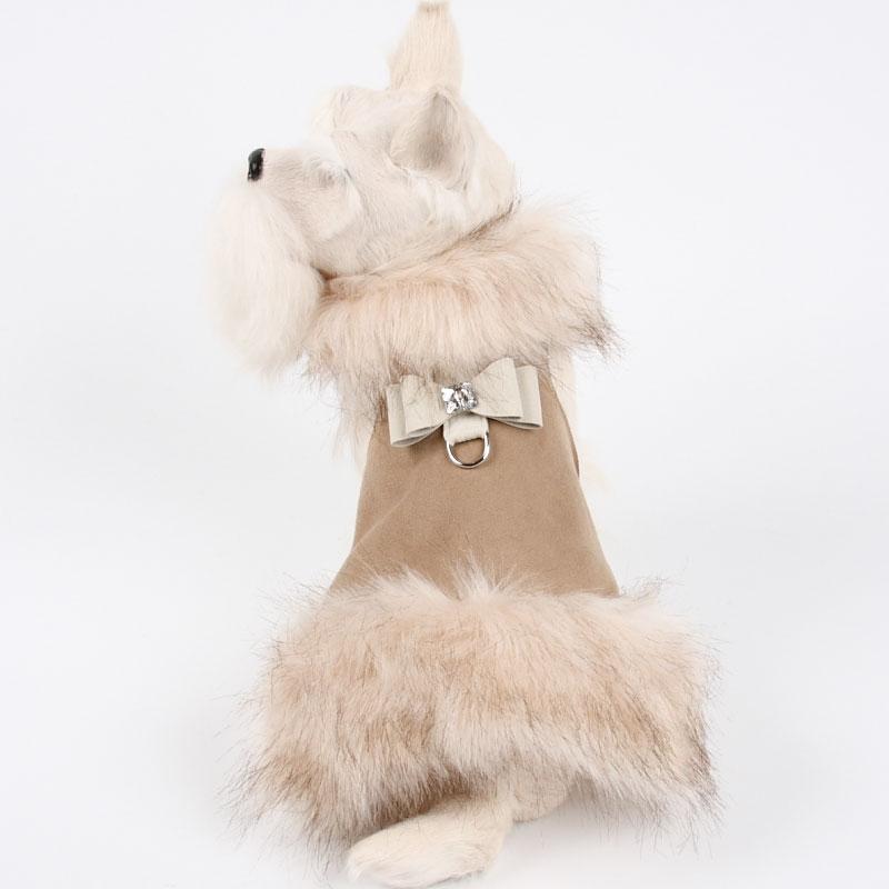 Big Bow Foxy Fur Dog Coat In Camel At Glamourmutt Com