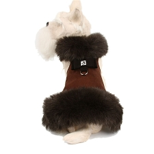 Big Bow Foxy Fur Dog Coat- Chocolate
