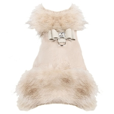 Big Bow Foxy Fur Dog Coat- Ivory