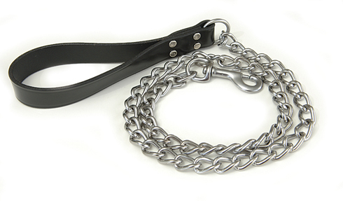 Chain Dog Leash With Black Leather Handle