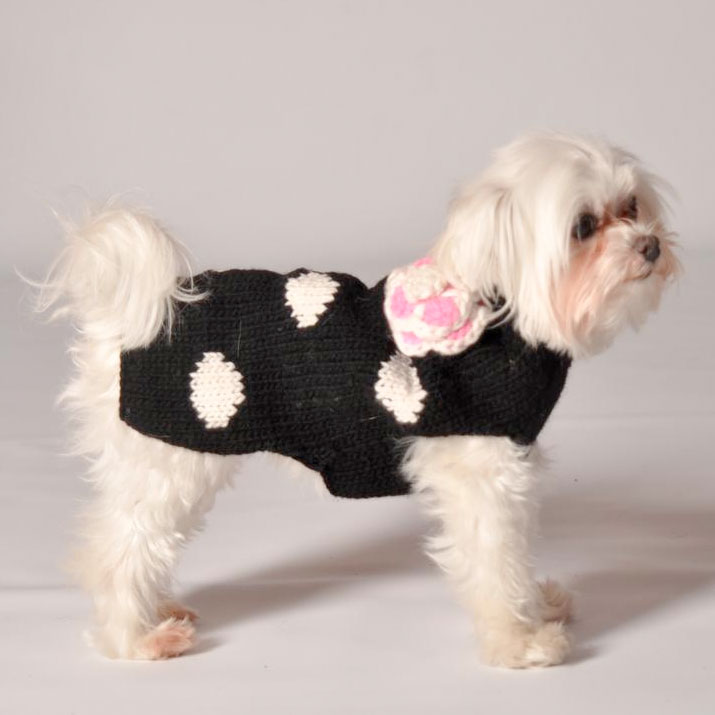 Black Polka Dot Flower Dog Sweater Chilly Dog Sweaters