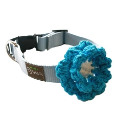 Crochet Flower Dog Collar - Little Boy Blue