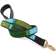 Handmade African Beaded Leather Leash- Blue Lagoon