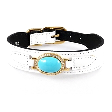 Boca Raton Estate Swarovski Crystal Leather Dog Collar- White Patent