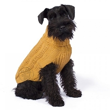 Bohemian Cable Knit Alpaca Dog Sweater- Mustard