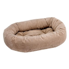 Microvelvet Donut Dog Bed - Cappucino Treats