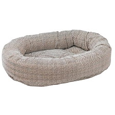 Microvelvet Donut Dog Bed - Herringbone