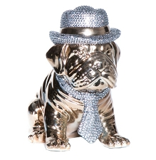 Bronze Bulldog with Rhinestone Hat & Tie