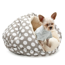 Burger Bed- Grey Polka Dot
