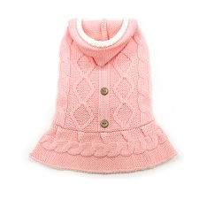 Cable Hoodie Sweater Dress- Pink