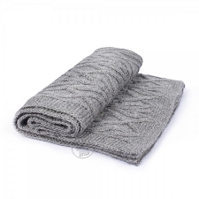 Cable Knit Alpaca Blanket- Grey