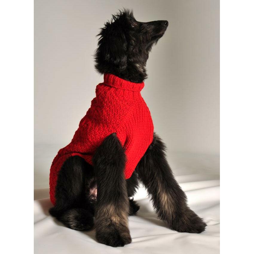 9b71da8a2 Red Cable Knit Dog Sweater
