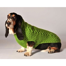 Cable Knit Dog Sweater- Green