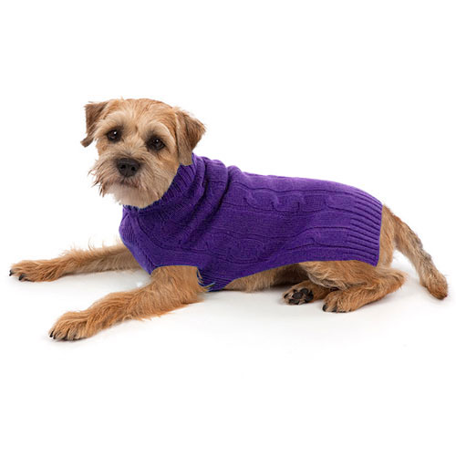 Cashmere Dog Sweater Purple Warm Dog Sweaters At