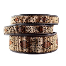 Handmade African Beaded Leather Dog Collar - Cheetah